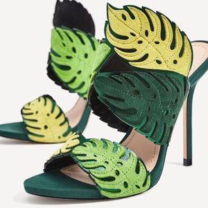 Zara wrap around leaf heels sz 7.5 like new
